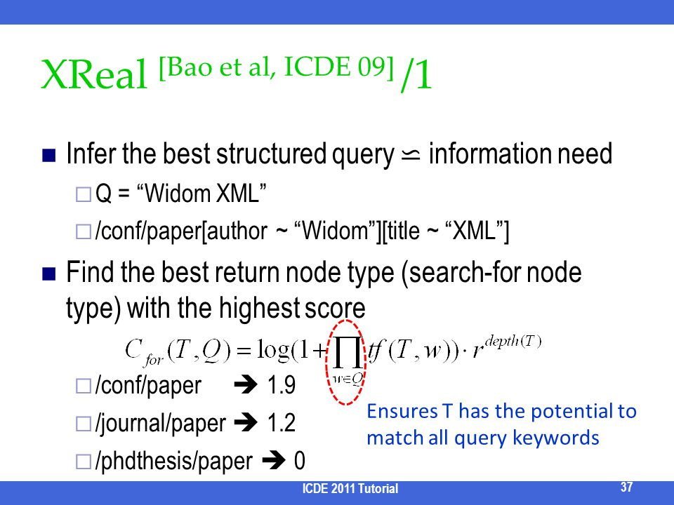 2017/3/31 XReal [Bao et al, ICDE 09] /1. Infer the best structured query ⋍ information need. Q = Widom XML